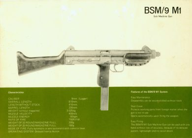 This rare Bérgom S/A English-language sales leaflet of the early 1970's shows that the newly-established company was trying to reach the international market. Although marked BSM/9 M1, the gun shown appears to be the earlier SM 9, from which the grip safety lever was removed (a much closer look at the picture appears to show this).