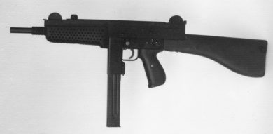 The only surviving image of the undesignated prototype of the early-1970s is just enough to show the gun's general configuration. Note perforated handguard for barrel ventilation.