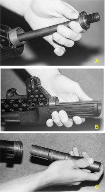 Some disassembly stages: (A) pulling barrel out of the receiver after unscrewing its mounting nut; (B) sliding polymer handguard forward and away; (C) pulling bolt out of the receiver's rear end after recoil spring removal.