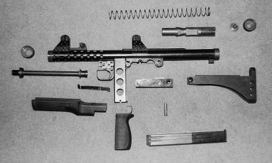 The weapon field-stripped. The large-diameter recoil spring and shape of the bolt are evident.