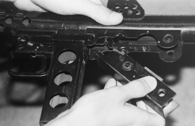 Closer photo shows how the firing mechanism box fit in the gun's body just behind the magazine housing.