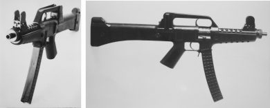 Two views of the LAPA submachine gun with the 32-round curved magazine of polymer construction that was to be used in production weapons.
