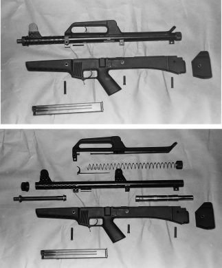 Initial and final stages of the SM MOD.3 subgun field-stripping process. Note the ventilation holes in the receiver's forward portion.
