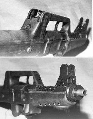 """These two views show that the rear sight was protected by the carry handle structure and that the massive front sight structure configuration was much based on the designer's """"Skeleton"""", the earlier conceptual studies prototype."""