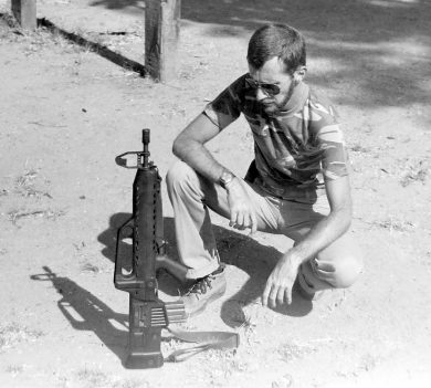 The rifle's favorite trick to show off its straight-line design was to stand on the buttplate… unsupported.