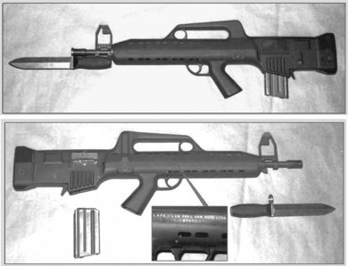"Two views of the sole prototype built. The 20-round magazine came straight from an M16 and the ""generic"" bayonet was made by Nelmo Suzano simply to show how it fit the gun. The markings on the right side read: ""L.A.P.A. – LAB. PROJ. ARM. AUTO. LTDA./BRASIL""."