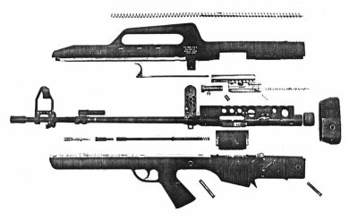 This is the only surviving picture of the F.A. MOD.3 field-stripped. In spite of the low quality, it's enough to give a general idea of what the rifle was like inside.