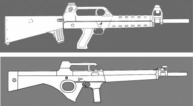 Two .22LR carbine designs, a bullpup and a conventional configuration, the latter's thumbhole grip indicating that it was probably intended for the U.S. market. Nelmo's AR-10-inspired carry handle is there all the time.