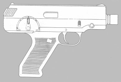 """Another design was this somewhat bulky 9x19mm pistol, whose markings on the fire selector indicate not only selective-fire (""""1"""", """"3"""", """"32"""") but also (""""SA"""", """"DA"""") single- and double-action options, something that the LAPA bullpup rifle of the 1980s had pioneered."""