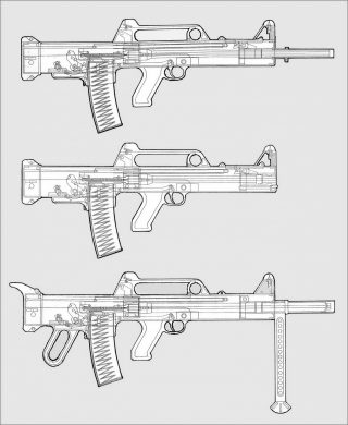 Three members of the 5.56x45mm, short-recoil-operated family (top to bottom): the rifle, the compact carbine, and the light machine gun intended for the SAW (Squad Automatic Weapon) role.