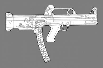 The 9x19mm subgun proposed by N.S. Projetos Termobalísticos S/C Ltda was also a bullpup-configured weapon. Unusually for an SMG, it was of short-recoil operation.