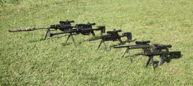 A line-up of rifles in Brazil's Corpo de Fuzileiros Navais (Marine Corps) inventory, left to right: suppressed PGM Hécate II, standard PGM Hécate II, PGM Ultima Ratio, Parker-Hale M85, Colt M16A2.
