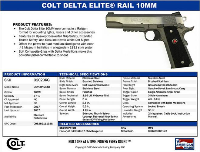New Colt Delta Elite Rail 10mm 1911 The Firearm Blog