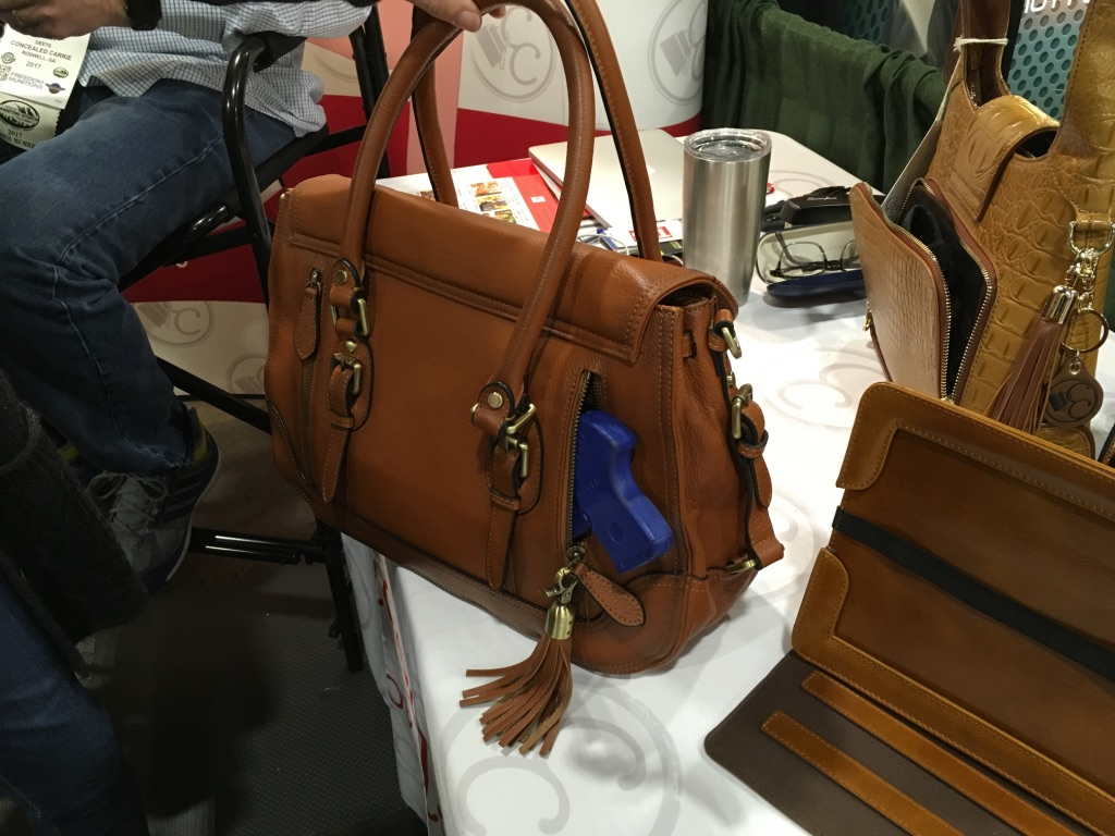 My favorite is the brown leather satchel. There is no printing at all!