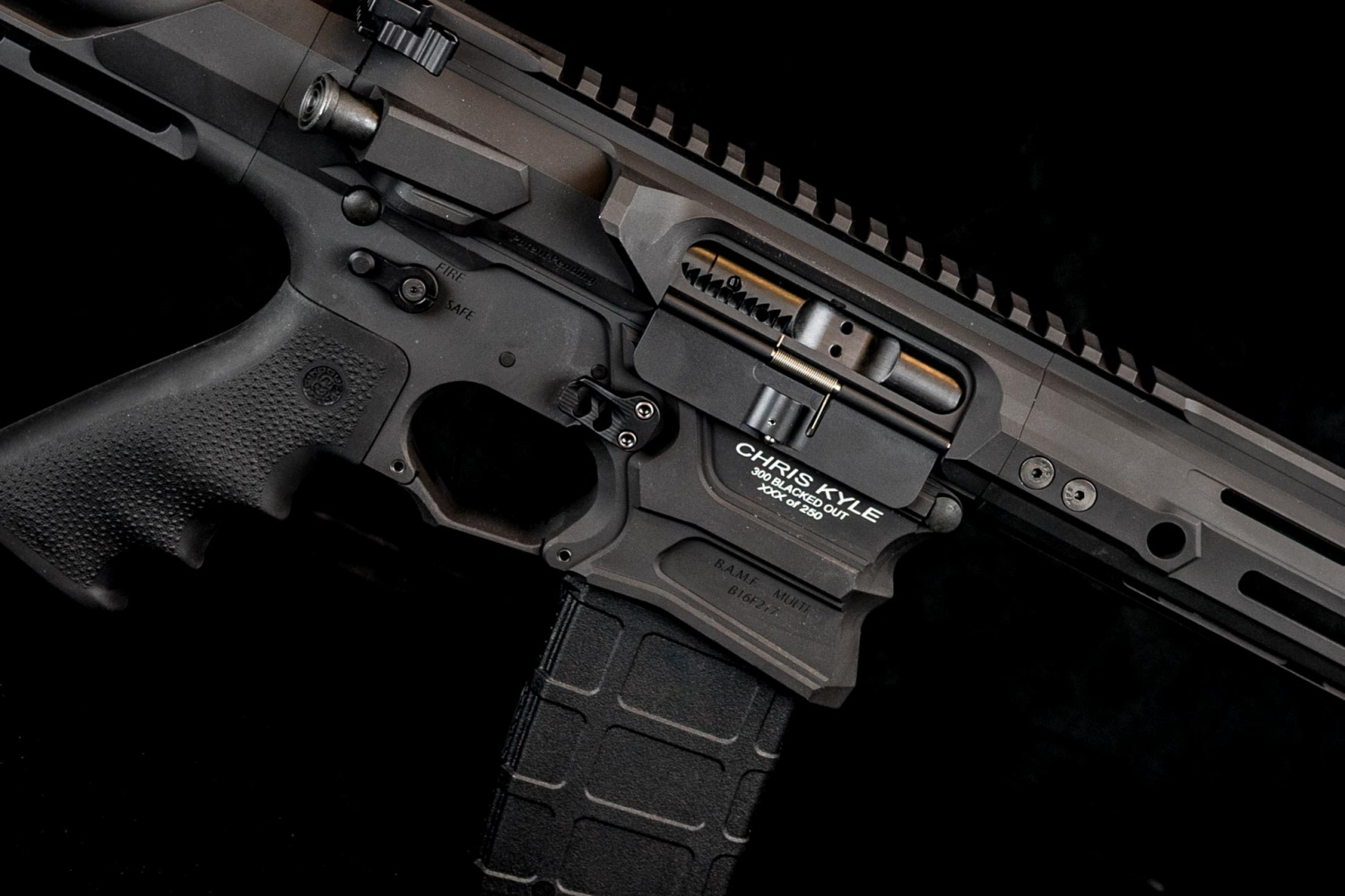 All of the rifles feature the Collection name, rifle name, and custom number. Image from T4 Photo