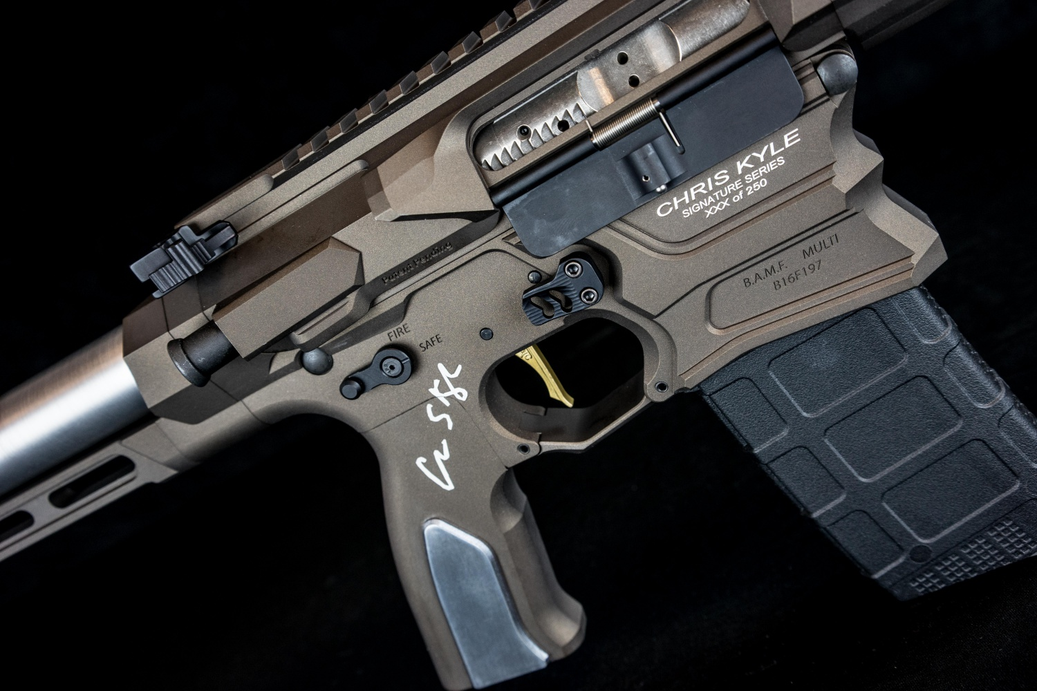Laser etching of Chris Kyle's signature.