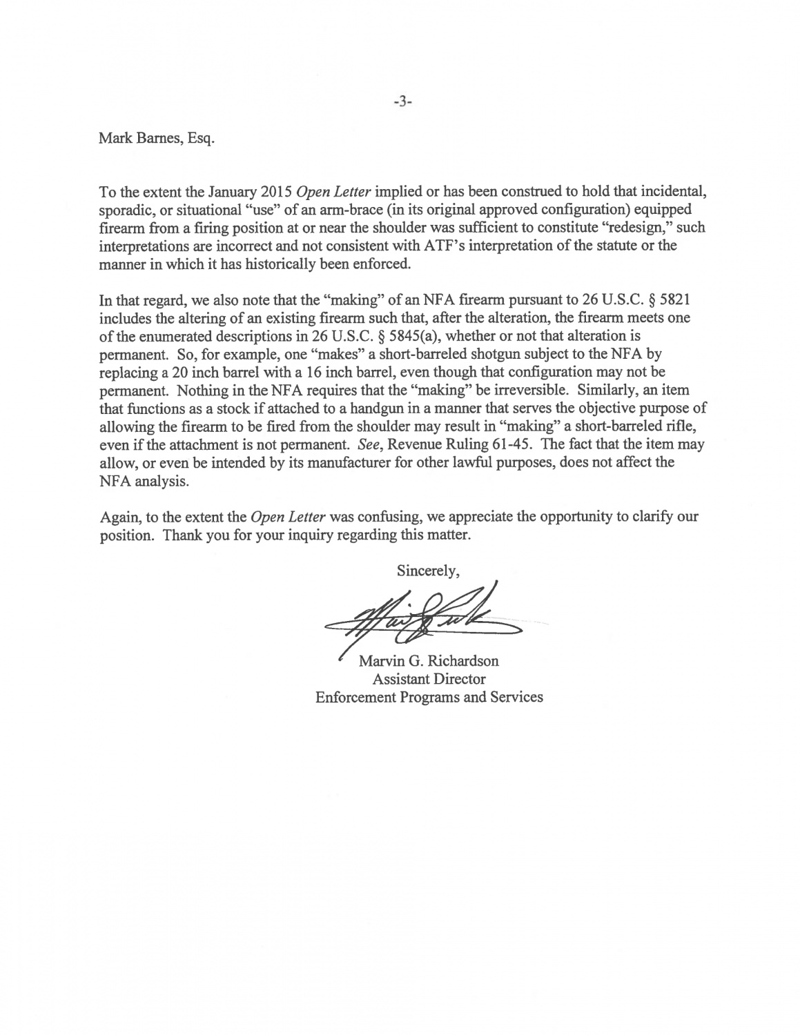 Breaking News Update Atf Reversal Letter To Sb Tactical  The