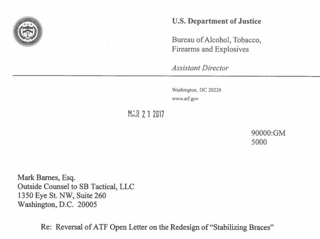 Breaking News Update: ATF Reversal Letter To SB Tactical  The