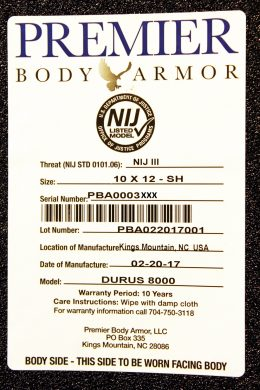 The label on the body side of the Durus 8000