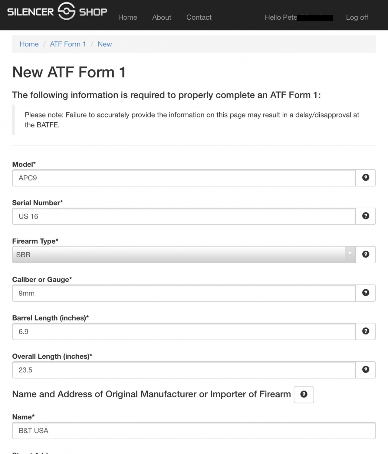 IMG_9530 Atf Form Sbr Example on atf form 1 reason, utah ccw form example, atf form 1 trust engraving, atf form 2 example, ar nfa form 1 sbr example, atf form 1 approved, duplicate title form example,