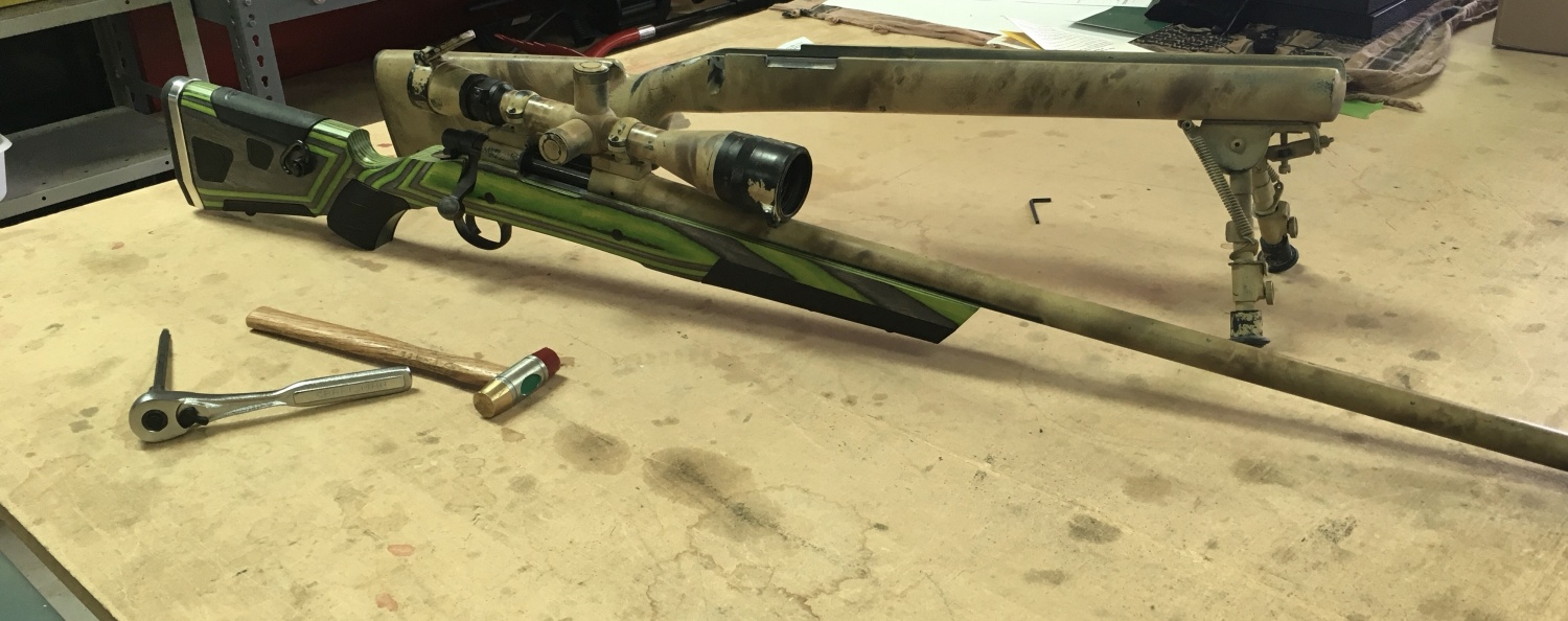 """Remington 700 installed into the """"Zombie Hunter"""" Boyds At-One stock. This was initial install prior to repainting the barrel and scope."""