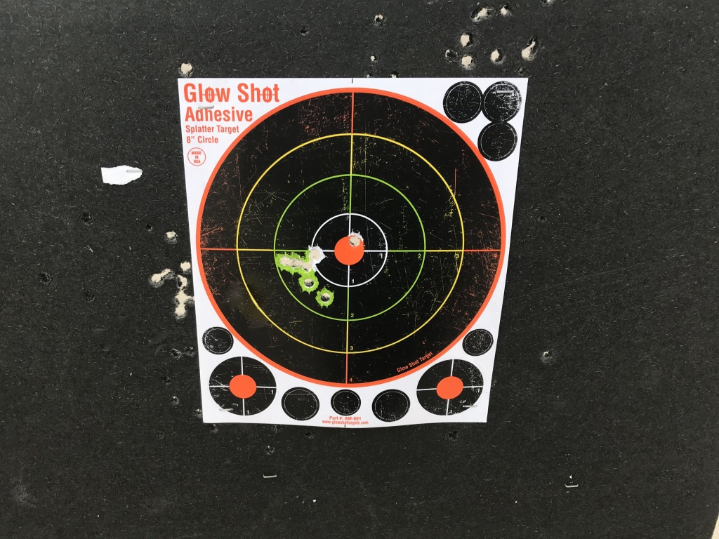 I clearly had an unequal grip and bad finger placement on the trigger. But I was consistently bad... :)