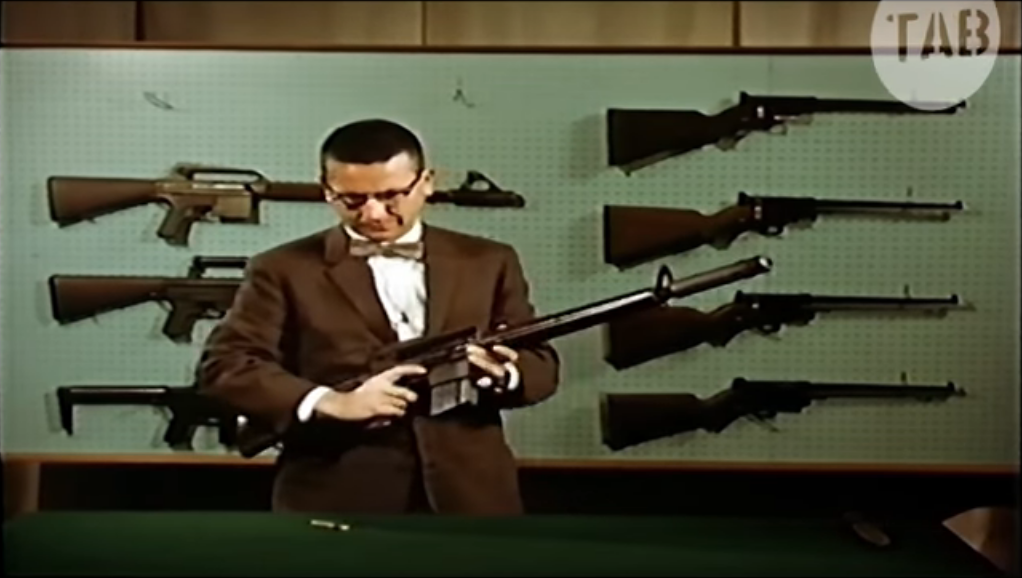 Eugene stoner and his wondrous ar 10 restored 1958 armalite eugene stoner and his famous bow tie with the ar 10 behind him are some ar 7s and some very early ar 10 prototypes thecheapjerseys Choice Image