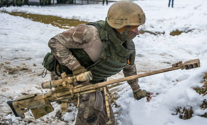 Weapons Of Russian Snipers Seen During A Live Fire