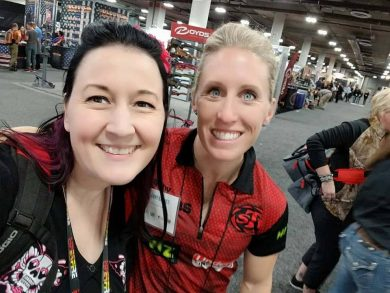 Rachel Y with 3-time Olympic Biathlon, Lanny Barnes at Women of the Gun, SHOT Show 2018