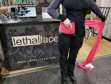 Lethal Lace founder Tessa Renaud shows how easy the custom holster is to wear.
