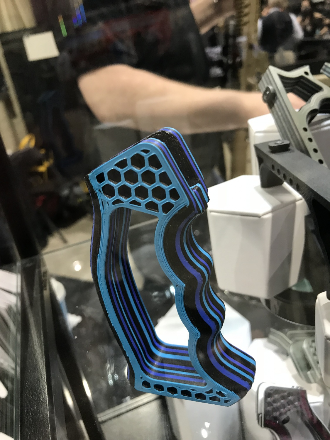 blue and black laminate style grip