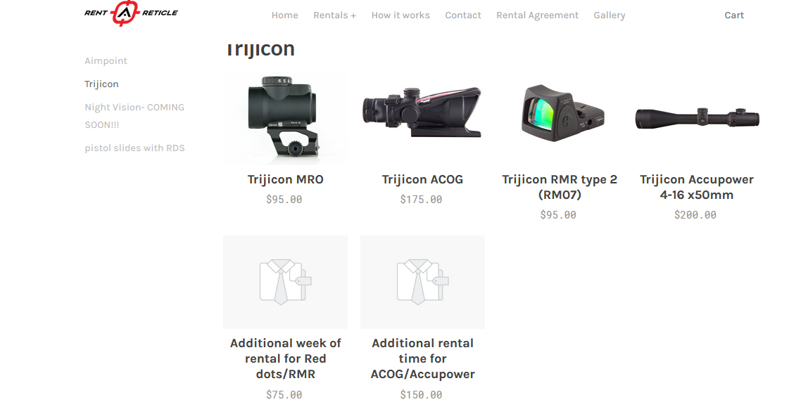 Rent-A-Reticle selection of Trijicon optics