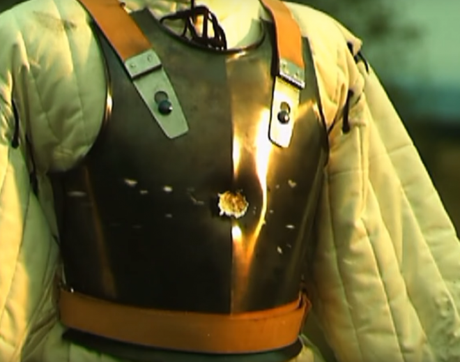 A musket ball striking a breast plate