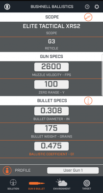 Bushnell's new Ballistics Calculator app allows the user to save up to 5 different guns.
