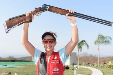 Ashley Carroll set a world record in the women's trap as the International Shooting Sport Federation World Cup continued in Guadalajara in Mexico.