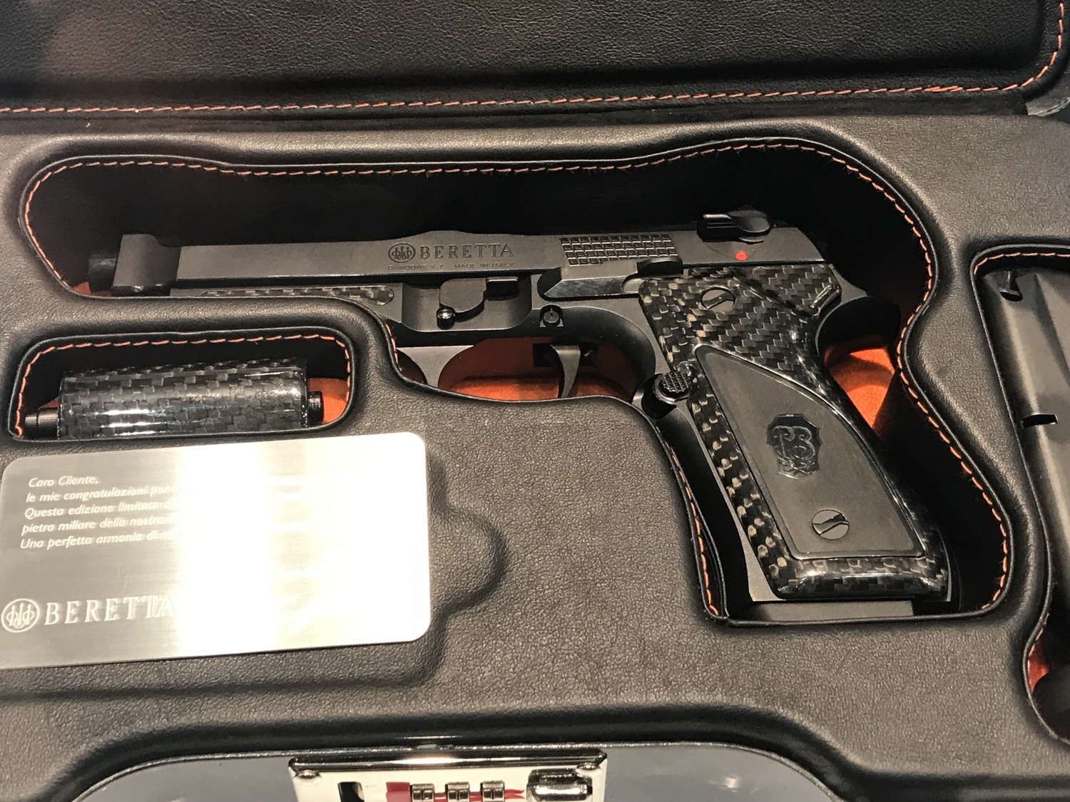 Fusion Black beretta nestled in its case.