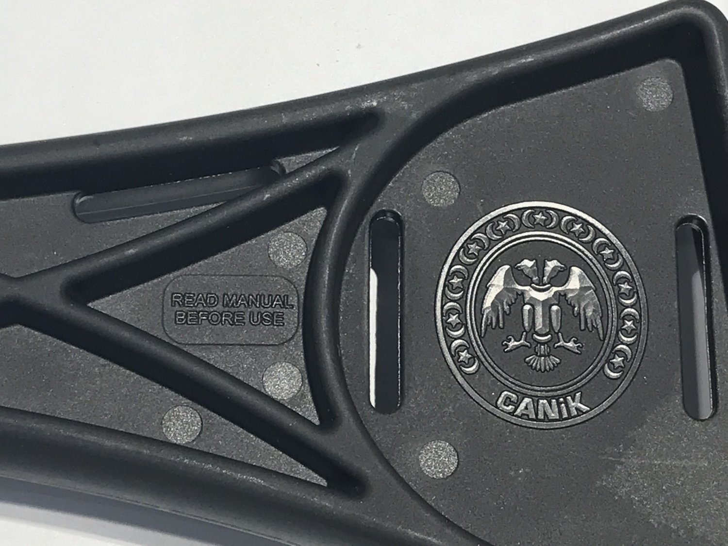 close up detail of canik TP9 stock