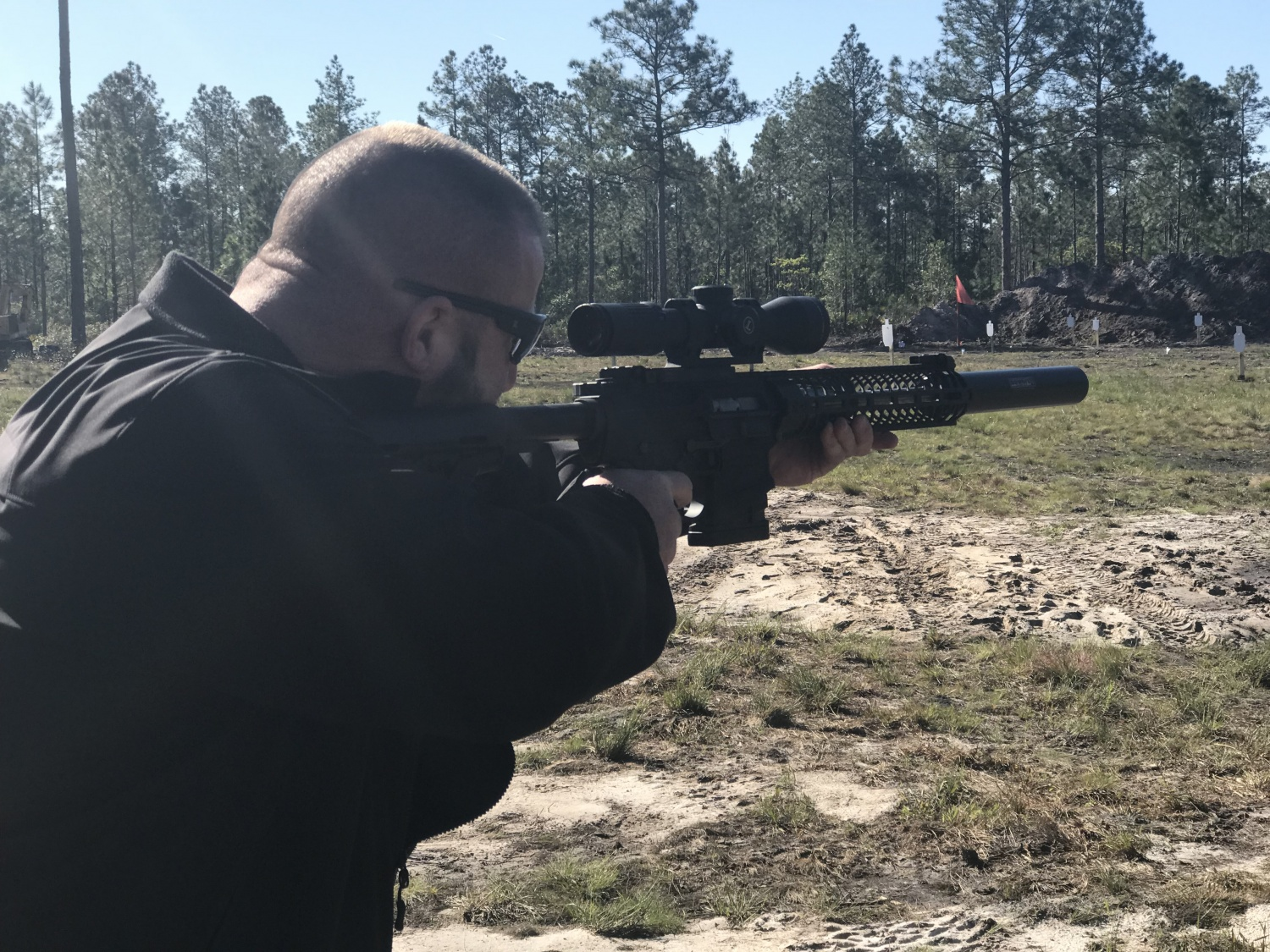 Shawn shooting a Spike's AR-10 chambered in .416 Spike