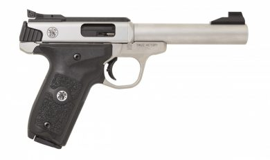 The new SW22 Victory Target Model pistol incorporates features designed for competitive target shooting, including target sights, custom target thumb rest grip, and polished feed ramp.