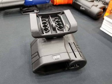 According to Larry Houck, Senior Product Manager for Blackhawk and Uncle Mike's, the Spyros Holster System can adjust ride height and is ambidextrous. It will also accommodate over 300 different pistol types.
