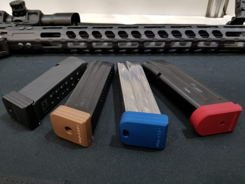 The magazine base plates come in 4 colors for 8 different double stack handgun magazine platforms.