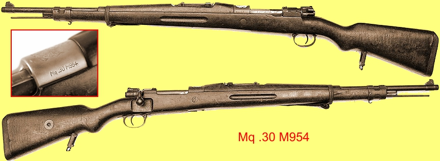 The .30-06 Mq .30 M954 Mauser bolt-action rifle made by Fábrica de Itajubá, the inset showing the receiver markings.