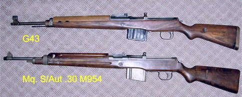 A side-by-side comparative view of the 7.92x57mm German Gewehr 43 and the .30-06 Brazilian Mq. S/Aut .30 M954.