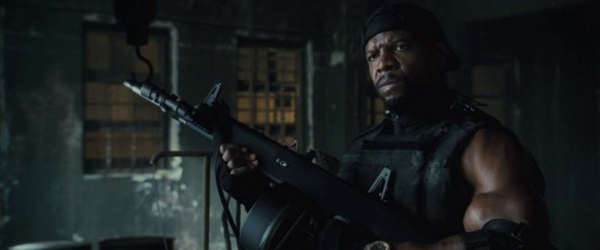 Terry Crews with his AA-12