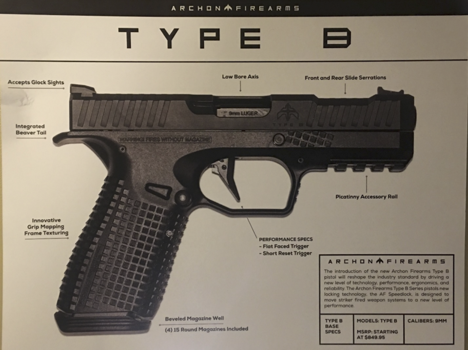 2018 Shot Show presentation for Archon Type B pistol. Picture courtesy of Arsenal Firearms
