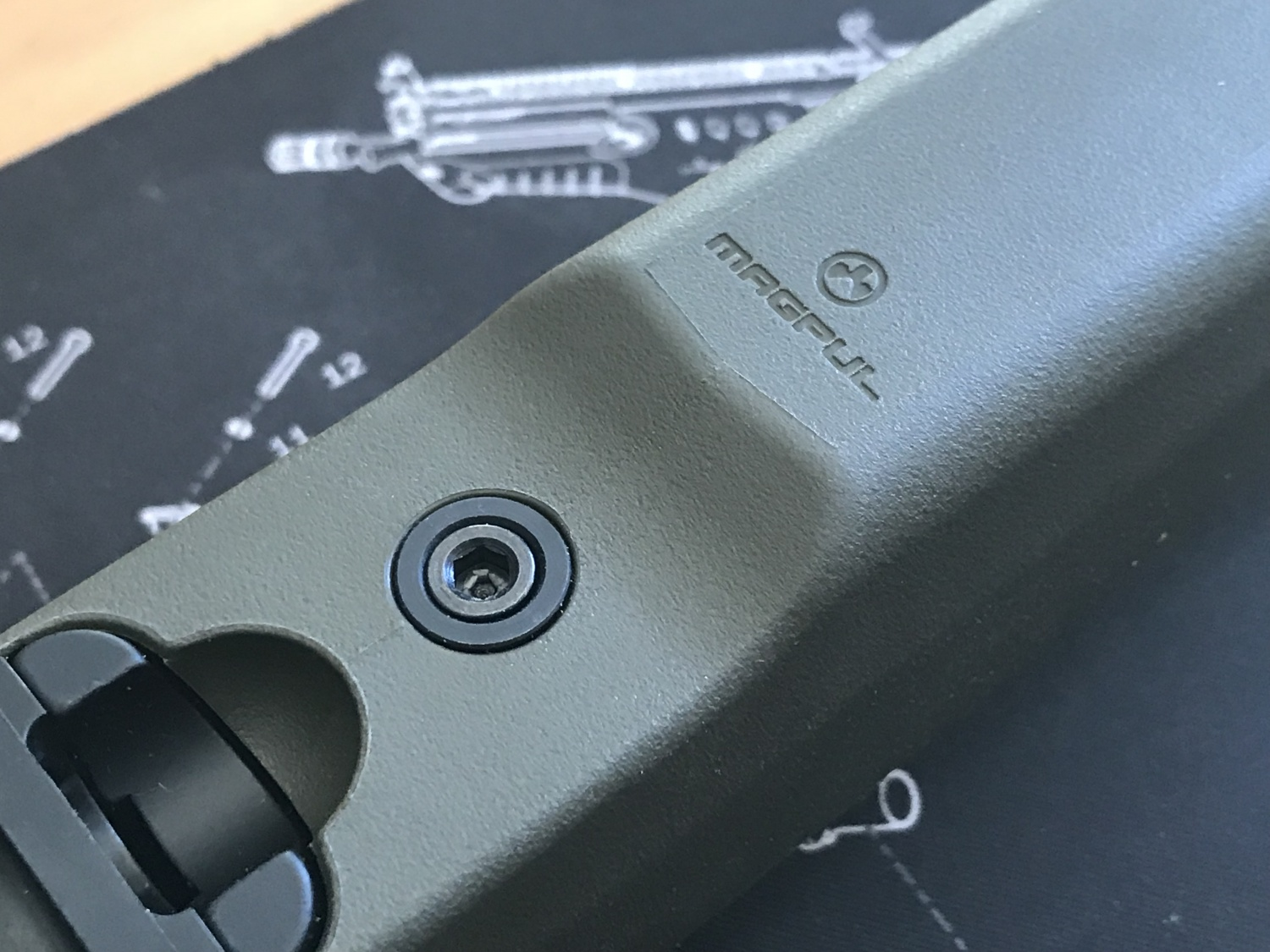 close up of T/CR22 stock
