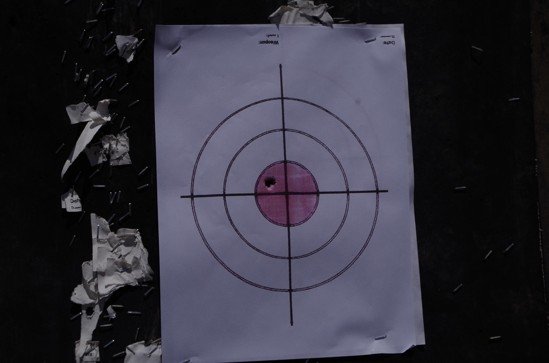 This was 2 rounds from the 6.5 Creedmoor at 100 yards. We had to measure to verify that both were on target. This from an AR Platform...