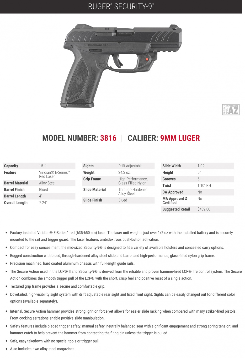 Visible Protection: NEW Ruger Security-9 w/ Viridian E