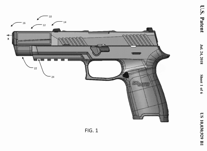 left side view of an example firearm assembly