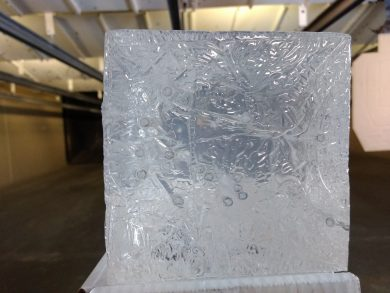 The face of the gel block.